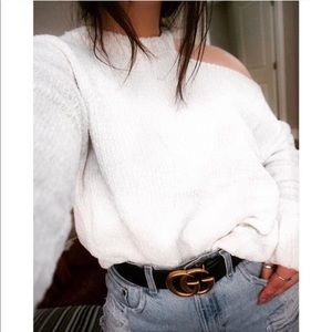 🆕Chenille Cold Shoulder Sweater